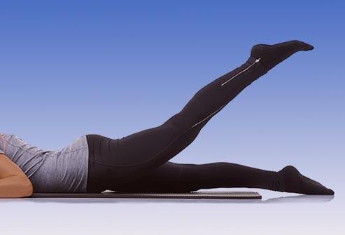 بالا آوردن پا در حالت خوابیده - تقویت زانو