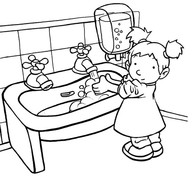 نقاشی شستن دستها با صابون برای رعایت بهداشت فردی