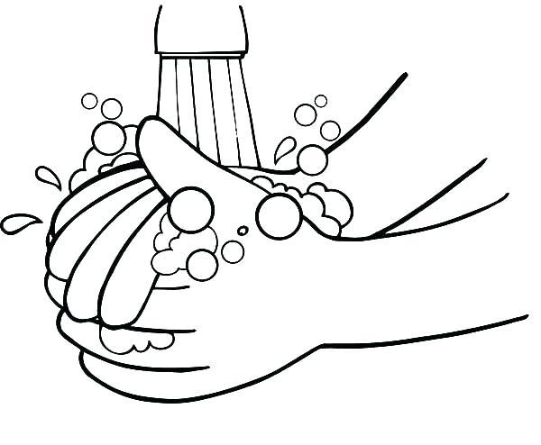 نقاشی دستهای در حال شستشو برای بهداشت فردی