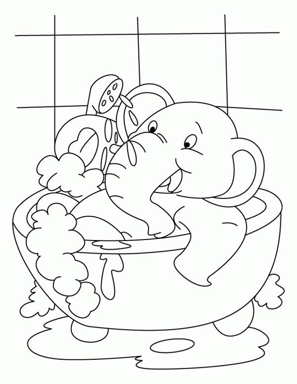 نقاشی فیل با نمک در حمام برای بهداشت فردی کودکان برای رنگآمیزی