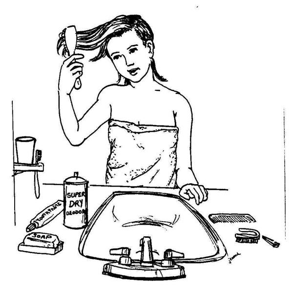 نقاشی شانه زدن موی سر برای رعایت بهداشت فردی برای کودکان