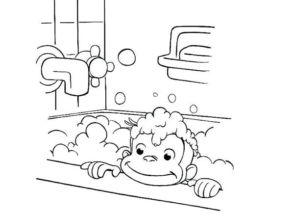 نقاشی میمون بانمک در حمام برای بهداشت فردی کودکان برای رنگآمیزی