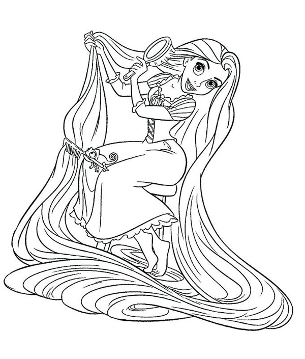نقاشی شانه زدن موی راپونزل برای کودکان