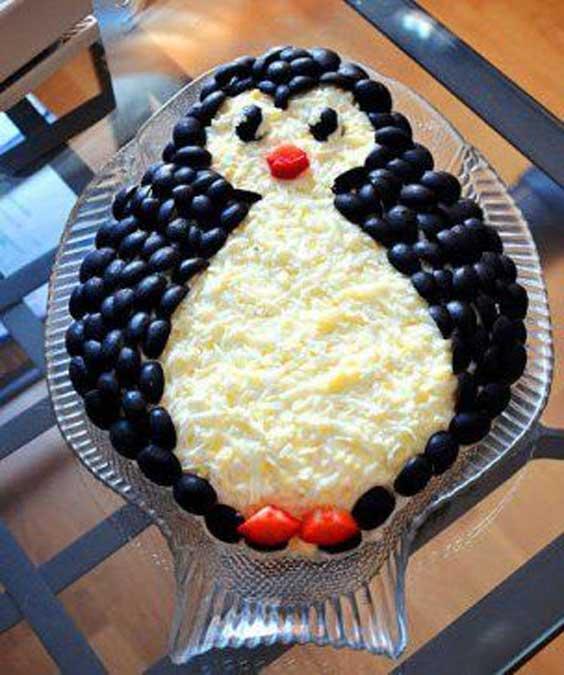 تزیین سالاد الویه به شکل پنگوئن