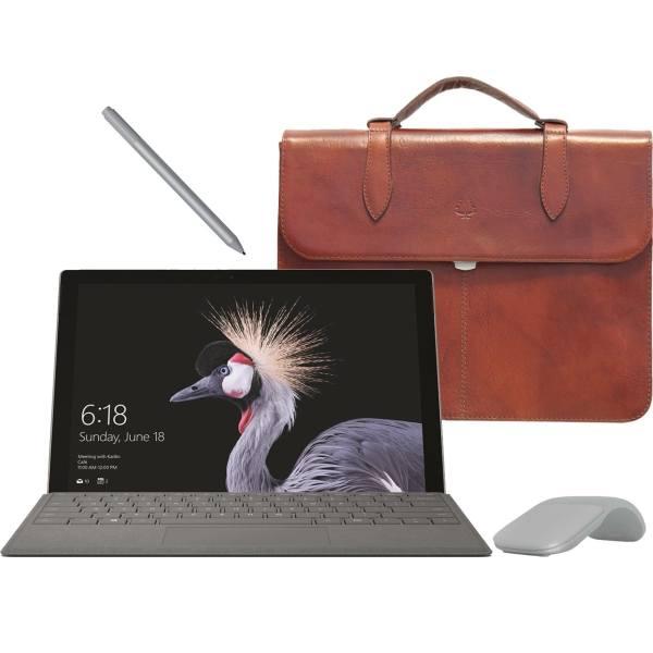 تبلت مایکروسافت مدل Surface Pro 2017 - F به همراه کیبورد و قلم و ماوس 2017  رنگ پلاتینیوم و کیف چرم صنوبر  - ظرفیت 1 ترابایت