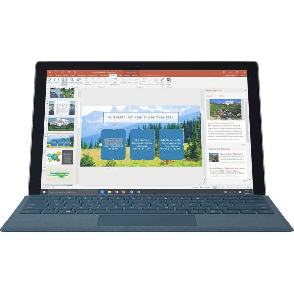 تبلت مایکروسافت مدل Surface Pro 2017 - A به همراه کیبورد سیگنیچر رنگ آبی کبالت و کیف چرم صنوبر  - ظرفیت 128 گیگابایت