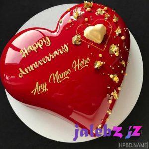 کیک تولد قلبی شیک قرمز