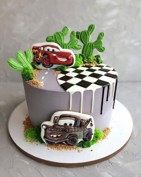 کیک تولد پسرانه ماشین 2020