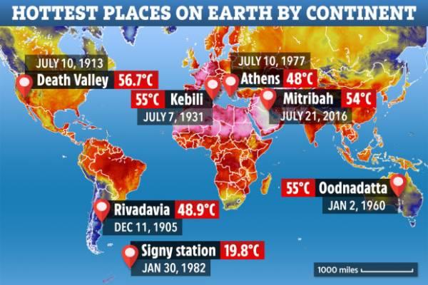 گرم ترین نقطه کره زمین